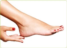 Women showing off hand and foot after having a Manicures, Pedicures and Gel nails treatment